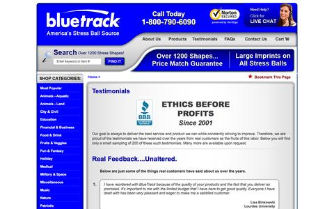 Screenshot of Testimonials Page bluetrack.com - Reviews & Testimonials - captured Feb. 7, 2016