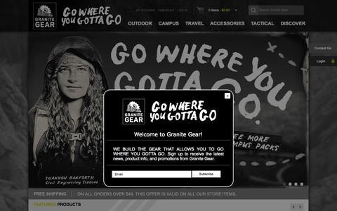 Screenshot of Home Page granitegear.com - Granite Gear   Backpacks Born in the Boundary Waters - captured Oct. 1, 2015
