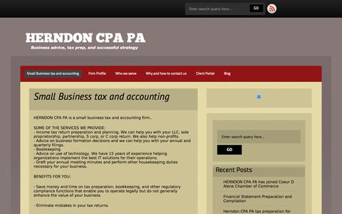 Screenshot of Home Page herndoncpa.com - Small Business tax and accounting » HERNDON CPA PA - captured Oct. 3, 2014