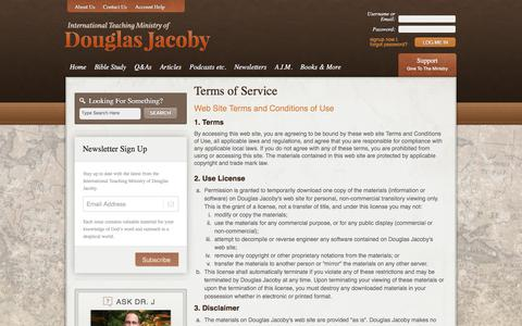 Screenshot of Terms Page douglasjacoby.com - Terms of Service - Douglas Jacoby - captured Oct. 18, 2017