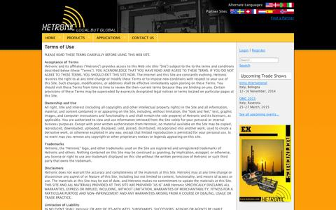 Screenshot of Terms Page hetronic.com - Legal | Hetronic - captured Nov. 2, 2014