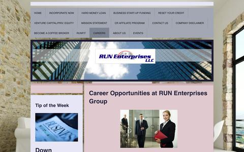 Screenshot of Jobs Page run-enterprises-group.com - RUN Enterprises Group. Full-service business consultants. Plans. Credit Restoration. - CAREERS - captured Feb. 26, 2016