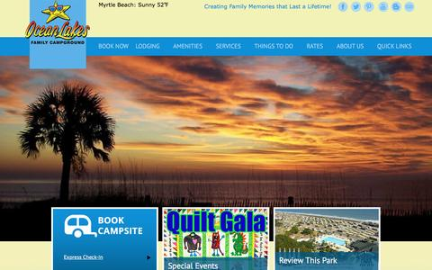Screenshot of Home Page oceanlakes.com - Ocean Lakes Family Campground Myrtle Beach SC - captured Feb. 19, 2016