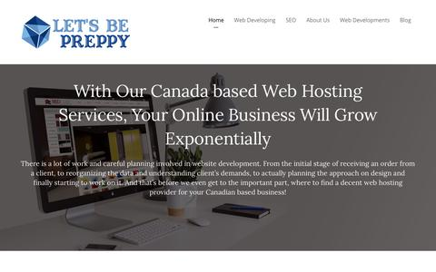 Screenshot of Home Page letsbepreppy.com - Let's Be Preppy - Canada Web Hosting Perfected! - captured July 18, 2018