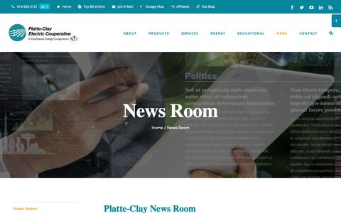 Screenshot of Press Page pcec.coop - News Room » Platte-Clay Electric Cooperative - captured Sept. 28, 2018