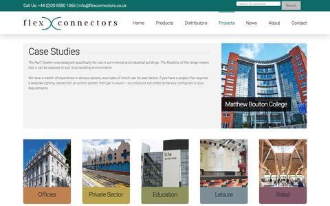 Screenshot of Case Studies Page flexconnectors.co.uk - Case Studies - Flex Connectors - captured Nov. 25, 2016