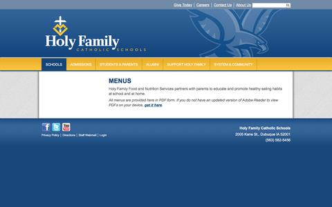 Screenshot of Menu Page holyfamilydbq.org - Menus & Nutrition - Holy Ghost Elementary - Holy Family Catholic Schools - captured March 13, 2018