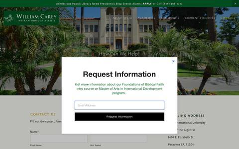 Screenshot of Contact Page wciu.edu - Contact Us — William Carey International University - captured May 30, 2019