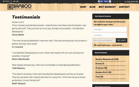 Screenshot of Testimonials Page bambooskateboards.com - Testimonials - Bamboo Skateboards - captured Dec. 30, 2015