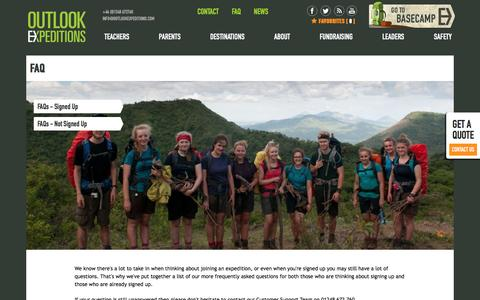 Screenshot of FAQ Page outlookexpeditions.com - Outlook Expeditions :: FAQ - captured Dec. 6, 2016