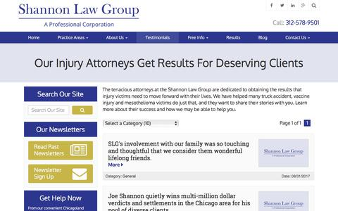 Screenshot of Testimonials Page shannonlawgroup.com - Chicago Accident and Injury Client Testimonials | Shannon Law Group, P.C. - captured Oct. 4, 2017