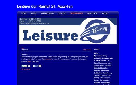 Screenshot of Testimonials Page leisurecarrentalsxm.com - Leisure Car Rental St. Maarten St. Martin - Testimonials - captured Oct. 2, 2014