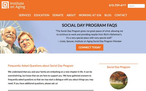 Screenshot of FAQ Page ioaging.org - FAQs About Our Social Day Programs for Senior Citizens & Caregivers | IOA - captured Oct. 15, 2017