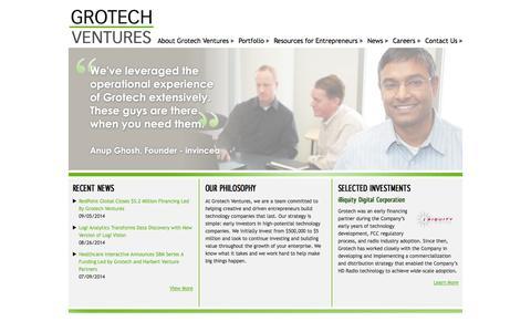 Screenshot of Home Page grotech.com - Grotech Ventures - captured Oct. 4, 2014