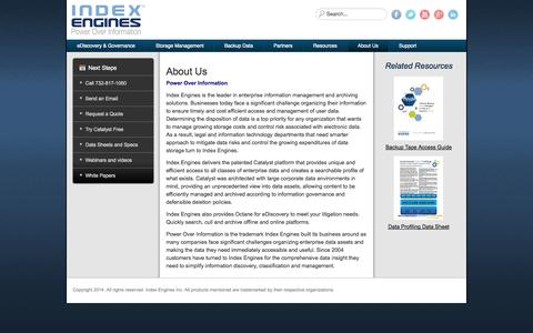 Screenshot of About Page indexengines.com - About Us - captured Oct. 29, 2014