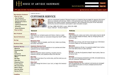 Screenshot of Support Page houseofantiquehardware.com - Customer Service | FAQs , Policies & Service Help |House of Antique Hardware - captured Dec. 14, 2017
