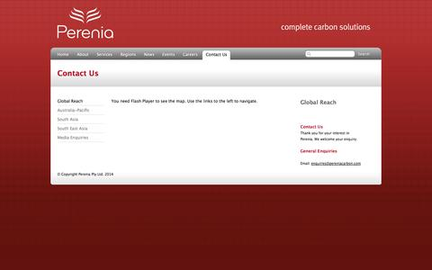 Screenshot of Contact Page pereniacarbon.com - Perenia: Complete Carbon Solutions – Contact Us – Global Reach - captured Oct. 2, 2014