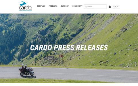 Screenshot of Press Page cardosystems.com - Cardo press releases - captured Sept. 27, 2018