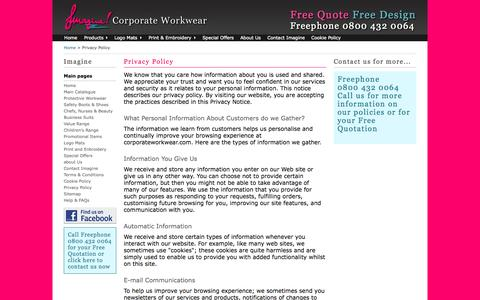 Screenshot of Privacy Page corporateworkwear.com - Privacy Policy - Imagine Ltd, Midlands, UK for Workwear, Corporate Work Wear, Uniforms & Protective clothing, Safety Footwear. - captured Oct. 6, 2014