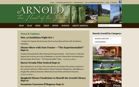 Screenshot of Press Page cometoarnold.com - News & Updates | Arnold, California - captured Sept. 19, 2014