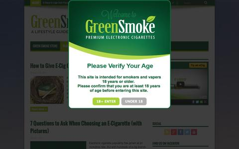 Screenshot of Blog greensmoke.com - A Lifestyle Guide For Vapers - - captured Sept. 18, 2014