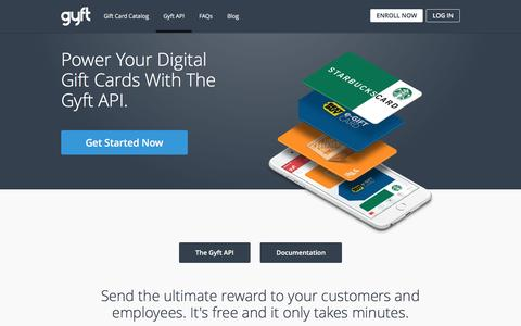 Screenshot of Developers Page gyft.com - Power Your Corporate Gift Card Program with the Gyft API - captured July 4, 2016
