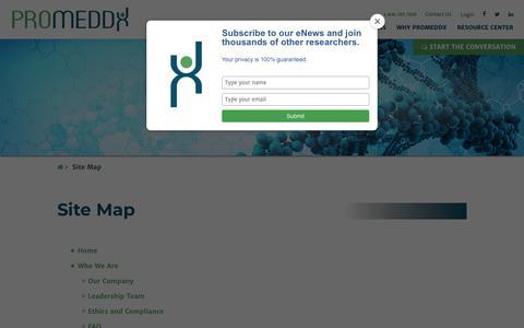 Screenshot of Site Map Page promeddx.com - Site Map - ProMedDx - captured Sept. 29, 2018