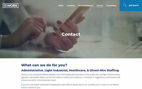 Screenshot of Contact Page atwork.com - Contact AtWork Group | AtWork - captured June 29, 2018