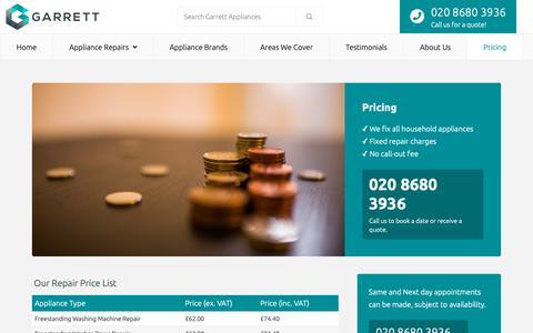 Screenshot of Pricing Page garrettappliances.co.uk - Pricing - Garrett Appliances - captured Nov. 10, 2018