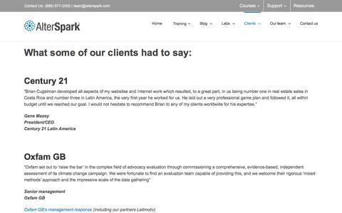 Screenshot of Testimonials Page alterspark.com - Testimonials and endorsements of AlterSpark | Digital Psychology Training - captured March 9, 2018