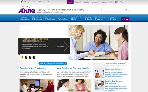 Screenshot of Home Page ahrq.gov - AHRQ.gov | Agency for Healthcare Research & Quality (AHRQ) - captured Sept. 23, 2014