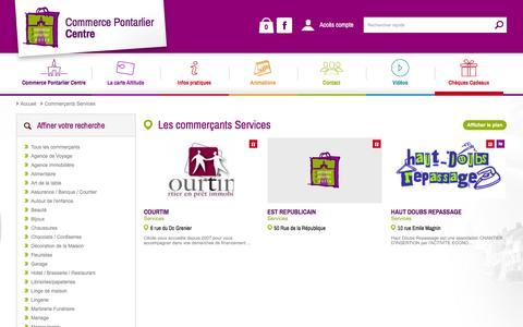 Screenshot of Services Page commerce-pontarlier.com - Les commerçants Services - Commerce Pontarlier Centre - captured March 12, 2016