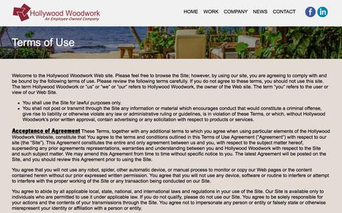 Screenshot of Terms Page hollywoodwoodwork.com - Terms of Use | Hollywood Woodwork Interior Exterior Detailing - captured July 15, 2016