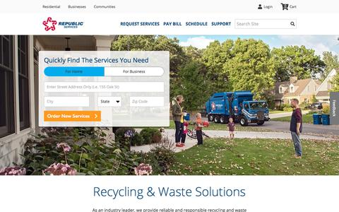 Screenshot of Home Page republicservices.com - Waste Disposal and Trash Removal Services | Republic Services - captured Feb. 17, 2020