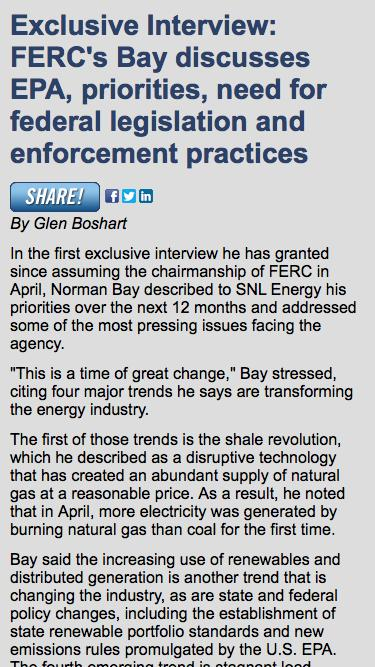 Exclusive interview with FERC Chairman Norman Bay