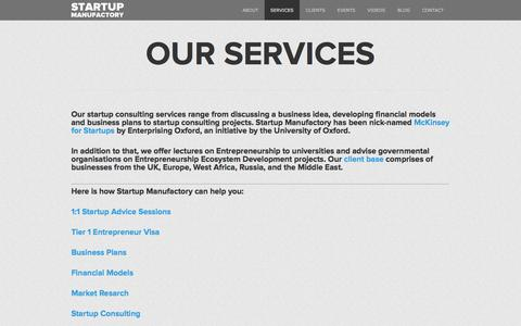 Screenshot of Services Page startupmanufactory.com - OUR SERVICES | STARTUP MANUFACORY - captured June 17, 2017