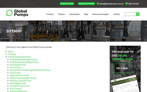 Screenshot of Site Map Page globalpumps.com.au - Site Map   Global Pumps - captured May 18, 2017