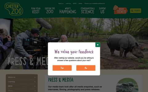 Screenshot of Press Page chesterzoo.org - Press & Media   Chester Zoo - captured Jan. 15, 2019