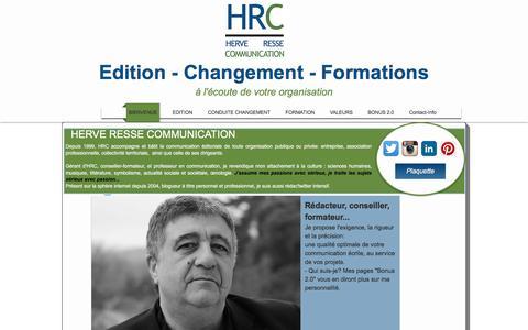 Screenshot of Home Page herveresse.com - Herve Resse Communication: éditorial, rédactionnel, formation - captured Jan. 23, 2016