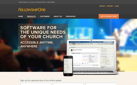 Screenshot of Products Page fellowshipone.com - Web-Based Church Management Software Features - captured Aug. 23, 2016