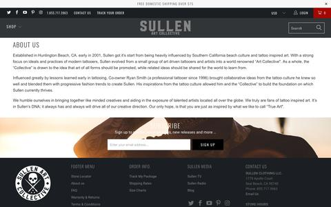 Screenshot of About Page sullenclothing.com - About us - captured June 25, 2017