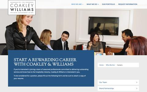 Screenshot of Jobs Page cwhotels.com - Careers at Coakley Williams Hotel Management Company - captured Sept. 28, 2018