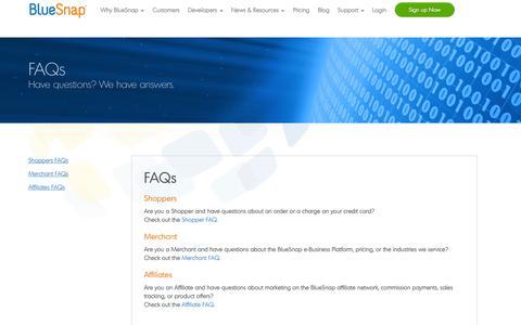 Screenshot of FAQ Page bluesnap.com - FAQs   BlueSnap - captured Oct. 22, 2014