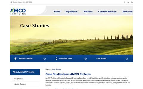Screenshot of Case Studies Page amcoproteins.com - Case Studies - AMCO Proteins - captured Feb. 6, 2016