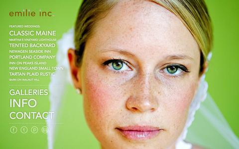Screenshot of Home Page emilieinc.com - Maine Wedding Photographer :: Portland, Maine - Emilie Inc. - captured Oct. 5, 2014