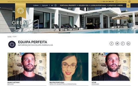 Screenshot of Team Page greatlivinginportugal.com - Team - Great | Living in Portugal - captured May 23, 2017