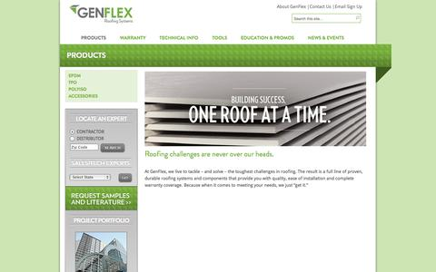 Screenshot of Products Page genflex.com - Products | GenFlex Roofing Systems - captured Oct. 2, 2014
