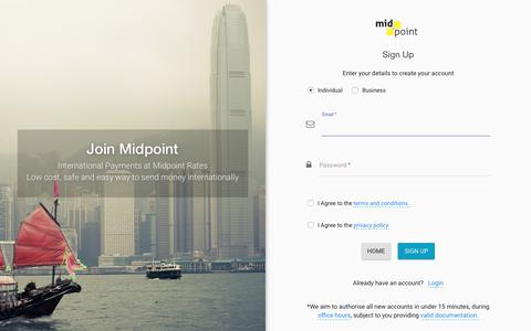 Screenshot of Signup Page midpoint.com - Sign Up | Midpoint - captured Oct. 18, 2018
