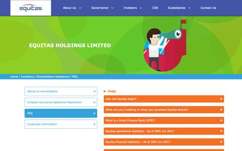 Screenshot of FAQ Page equitas.in - EQUITAS HOLDINGS - captured Sept. 28, 2018