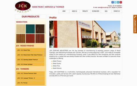 Screenshot of About Page jckcoatings.com - We Deliver better quality Wood coating, Thinner and Auto Refinishes - captured Nov. 18, 2016